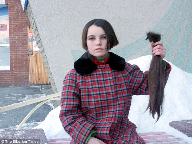 Valentina, pictured aged 13, sold her hair to pay for food after she ran away from home  11 years ago