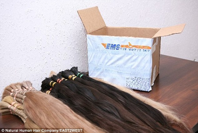 The hair is packaged and shipped to countries around the world from Mr Kalendarev's factory in the Ukrain