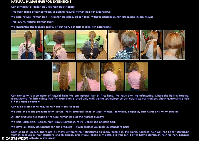 A Ukranian advert shows pictures of children's hair being chopped off and advertised as '100% natural'