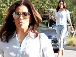 147834, EXCLUSIVE: Eva Longoria spotted out grabbing a bite to eat in Los Feliz. The 'Telenovela' star looked cool and chic in the LA heat as she wore an all blue outfit paired with nude peep toe heels and her huge engagement ring. Los Angeles, California - Tuesday February 9, 2016. Photograph: © Survivor, PacificCoastNews. Los Angeles Office: +1 310.822.0419 sales@pacificcoastnews.com FEE MUST BE AGREED PRIOR TO USAGE