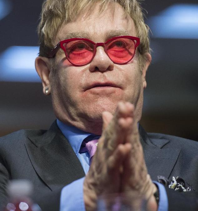 Singer Elton John, founder of the Elton John AIDS Foundation, testifies about global health programs during a Senate Appropriations Subcommittee hearing on C...