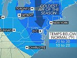 The coldest air of the season is poised to plunge into the Northeast this coming Valentine's Day weekend. This Arctic blast will not only flirt with some daily records, but will also bring subzero cold to parts of the Midwest and reinforce the cold in the Southeast.  A sharp southward nosedive of the polar jet stream will help tap an air mass originating from the Canadian Arctica and send it into the eastern half of the country from Friday through Valentine's Day.