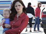 147887, Zooey Deschanel and Max Greenfield seen on the set of 'New Girl' in Woodland Hills. Woodland Hills, California - Wednesday February 10, 2016. Photograph: Miguel Aguilar, ? PacificCoastNews. Los Angeles Office: +1 310.822.0419 sales@pacificcoastnews.com FEE MUST BE AGREED PRIOR TO USAGE