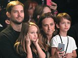 LOS ANGELES, CA - FEBRUARY 10: (L-R) Actor Tobey Maguire, Ruby Maguire, designer Jennifer Meyer, in Saint Laurent by Hedi Slimane, and Otis Tobias Maguire attend Saint Laurent at the Palladium on February 10, 2016 in Los Angeles, California for the Saint Laurent Los Angeles show.  (Photo by Kevin Mazur/Getty Images for SAINT LAURENT)