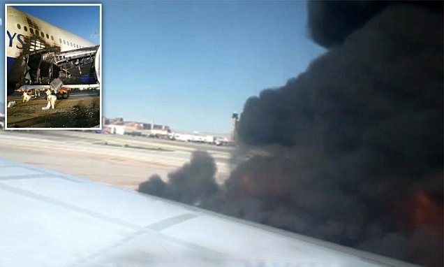 The dramatic moment British Airways jet engine bursts into flames on Vegas runway caught