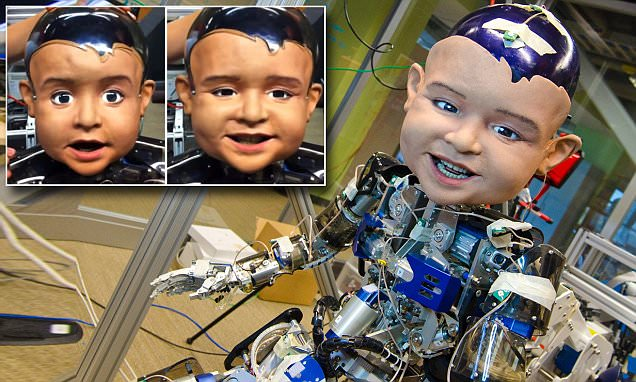 Watch the terrifying babybot: Creepy robot helps reveal how infants time their smiles to