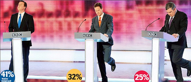Nervous: Nick Clegg and Gordon Brown bizarrely both lifted their legs as the debate progressed
