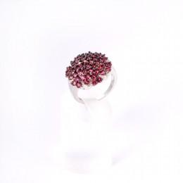 Серебряное кольцо с множеством родолитов