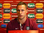 Phil Jagielka speaks during the press conference at The Novotel Vilnius, Vilnius on October 11th 2015