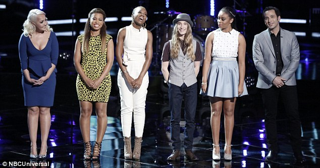 Awaiting their fate: Meghan Linsey, India, Koryn, Sawyer Fredericks, Koryn Hawthorne and Joshua Davis at the start of the show waited to learn who would be advancing