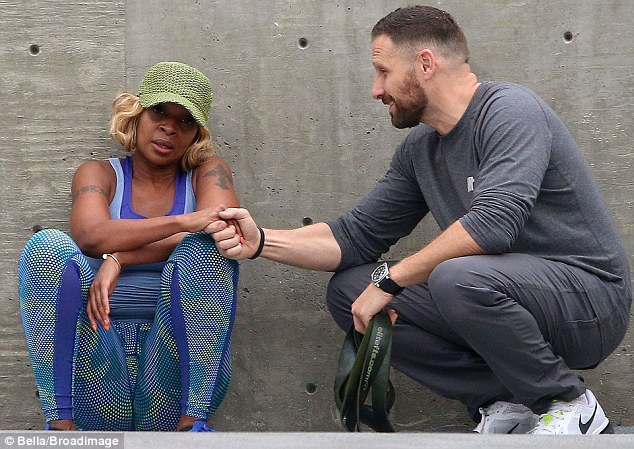 No More Drama! Mary J Blige rested as she was taken by her personal trainer's hand and continued to work up a sweat in Los Angeles on Tuesday