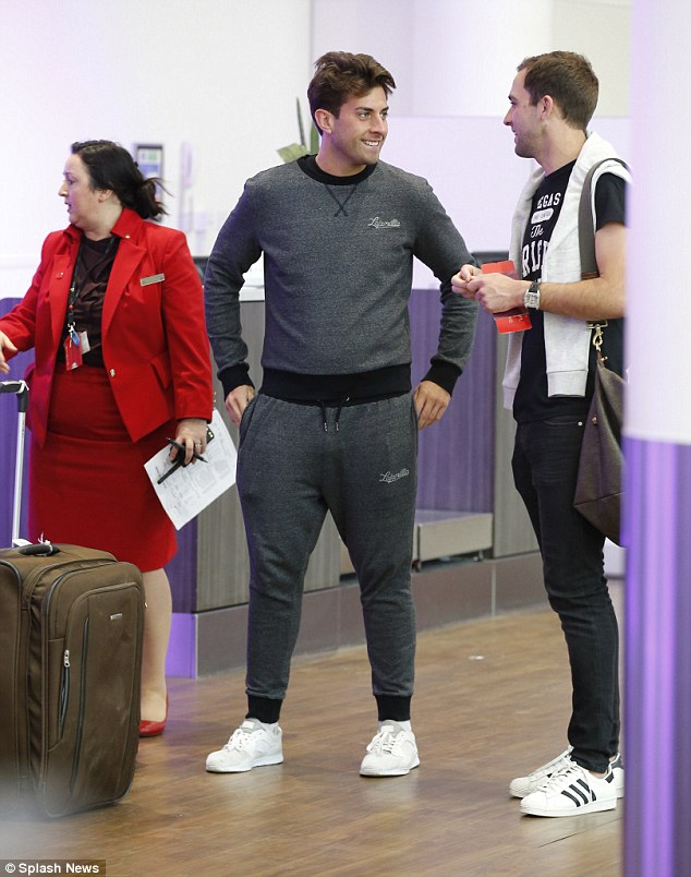 Thin and grin: The TOWIE star looked happy and healthy as he showed off his weight loss in a grey tracksuit