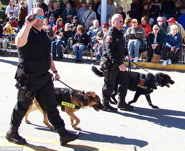 Partners in law enforcement: Eslary started his police department's K-9 program. Blek was his second K-9 partner after his first, name Ando, died in 2009