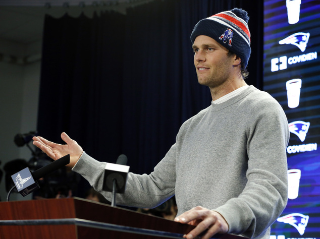FILE - In this Jan. 22, 2015, file photo, New England Patriots quarterback Tom Brady speaks at a news conference about the NFL investigation into deflated fo...