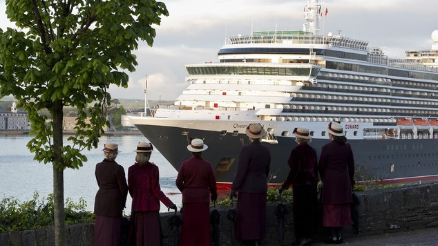 The Cunard liner Queen Victoria moored off the Old Head of Kinsale near Cobh in Ireland before taking part in a service to mark the 100th anniversary of the ...