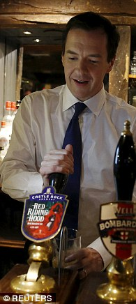 Tory Chancellor George Osborne embarked on a 24-hour tour of marginal seats ahead of polling day, trying his hand at packing chocolate, rolling dough and pulling pints