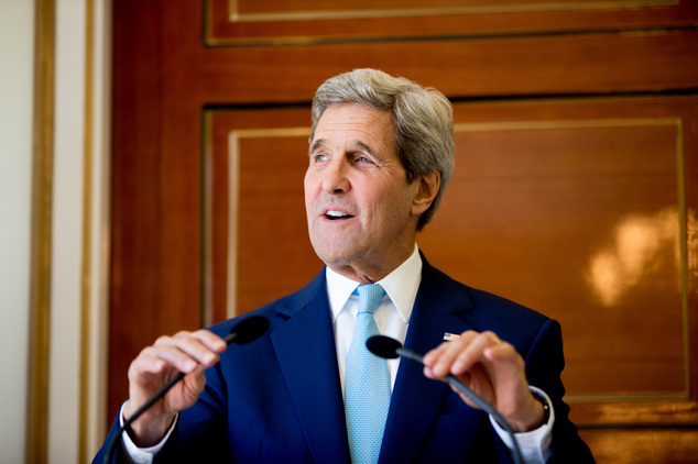 U.S. Secretary of State John Kerry speaks during a joint press conference with Foreign Minister Mahamoud Ali Youssouf at the Presidential Palace, in Dijbouti...