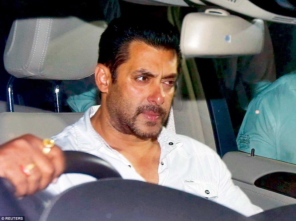 Grief: Salman Khan leaves the Mumbai sessions court after being handed a five year jail term. The actor maintains his innocence.