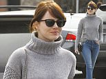 Picture Shows: Emma Stone  February 14, 2016\n \n Actress Emma Stone gets some sushi for lunch alone on Valentines Day in Malibu, California. Emma, who recently dyed her hair brown, was looking chic in a grey turtleneck sweater, blue skinny jeans, and black ankle boots.\n \n Non Exclusive\n UK RIGHTS ONLY\n \n Pictures by : FameFlynet UK © 2016\n Tel : +44 (0)20 3551 5049\n Email : info@fameflynet.uk.com