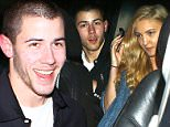 Nick Jonas and a mystery woman that looks a lot like ex Kate Hudson have a date night at Sidney Poitier's 89th birthday party at Craig's in West Hollywood, CA. February 20, 2016. X17online.com