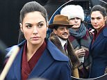 The New Wonder Woman movie is seen filming in trafalger square, set in the 20's the scene had hundreds of extra's dressed in army uniforms.  Pictured: Gal Gadot Ref: SPL1232681  210216   Picture by: Warner/Eade  Splash News  Splash News and Pictures Los Angeles: 310-821-2666 New York: 212-619-2666 London: 870-934-2666 photodesk@splashnews.com