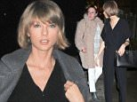 21 February 2016.\nTaylor Swift heads out to dinner in SoHo New York this evening. Taylor looked cool in all black attire after attending a wedding in Reading, PA. She is pictured here in black top teamed with black trousers with a grey peacoat.\nCredit: GoffPhotos.com   Ref: KGC-339/TIDNY-22\n**UK Sales Only**