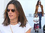 West Hollywood, CA - Jessica Biel is opening up a new kid friendly restaurant called Au Fudge. Alessandra Ambrosia and son Noah stop by to show their support during the Grand Opening. The supermodel mom showed off her toned tummy in a short white tee paired with denim flares and a suede jacket. \nAKM-GSI     February 22, 2016\nTo License These Photos, Please Contact :\nSteve Ginsburg\n(310) 505-8447\n(323) 423-9397\nsteve@akmgsi.com\nsales@akmgsi.com\nor\nMaria Buda\n(917) 242-1505\nmbuda@akmgsi.com\nginsburgspalyinc@gmail.com