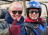For use in UK, Ireland or Benelux countries only \nUndated BBC handout photo of Chris Evans taking part in the first challenge for Top Gear with Matt LeBlanc, which is a UK v USA race from London to Blackpool in Reliant Rialtos, emblazoned with their respective country's flags. PRESS ASSOCIATION Photo. Issue date: Monday February 22, 2016. See PA story SHOWBIZ TopGear. Photo credit should read: Mark Yeoman/BBC/PA Wire\nNOTE TO EDITORS: Not for use more than 21 days after issue. You may use this picture without charge only for the purpose of publicising or reporting on current BBC programming, personnel or other BBC output or activity within 21 days of issue. Any use after that time MUST be cleared through BBC Picture Publicity. Please credit the image to the BBC and any named photographer or independent programme maker, as described in the caption.