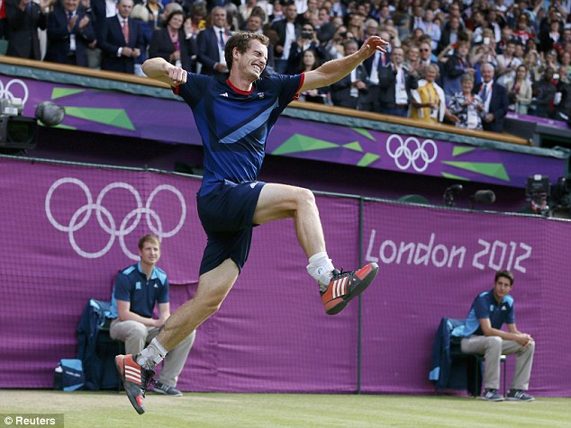 Jumping for joy: The celebrations begin for Andy Murray