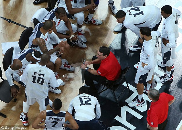Team talk: Head coach Mike Krzyzewski with his men