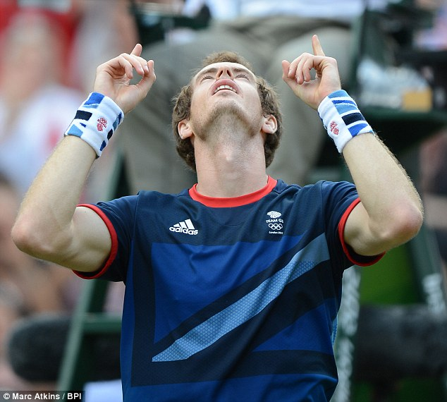Golden boy: Andy Murray's face is etched with unbridled joy as he clinches Olympic gold against Roger Federer