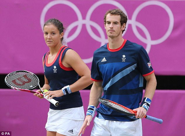 Just missed out: Andy Murray took a second medal of the day in the mixed doubles with Laura Robson, but sadly he had to settle for silver