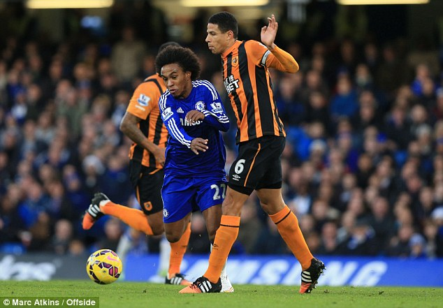 Willian (left) goes down under a challenge from Curtis Davies, who tried to pull away from it