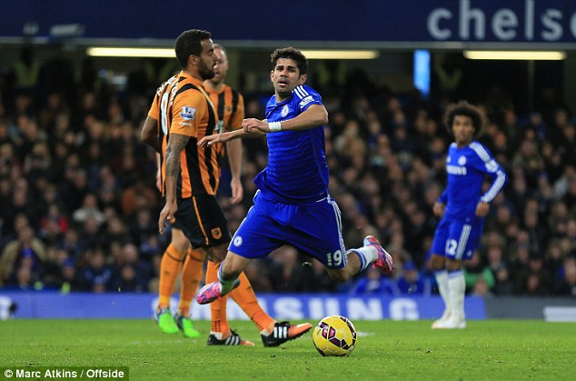 Costa (right) was booked for simulation after a challenge on him from Tom Huddlestone