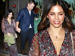 25.Feb.2016 -  Malibu - USA\n***AVAILABLE FOR UK AND GERMANY SALE ONLY ***\n*EXCLUSIVE ALL ROUND PICTURES*\n Channing Tatum and his wife Jenna Dewan hold hands as they leave a romantic dinner date at Cafe Habana in Malibu. Channing looked stylish in a blue sport coat, baggy blue trousers and a pair of oxford shoes. Jenna showed off some cleavage in a v-neck print dress. The 'Magic Mike' star kindly took a selfie with a couple of young fans before he got into his ride.\nBYLINE MUST READ: AKM-GSI-XPOSURE\n***UK CLIENTS - PICTURES CONTAINING CHILDREN PLEASE PIXELATE FACE PRIOR TO PUBLICATION ***\n*UK CLIENTS MUST CALL PRIOR TO TV OR ONLINE USAGE PLEASE TELEPHONE 0208 344 2007*
