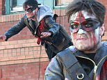 Picture Shows: Josh Hutcherson  February 25, 2016\n \n Actor Josh Hutcherson filming a music video for DJ Snake in Los Angeles, California. Josh could be seen dangling from wire and being hit by a taxi cab all while rocking some epic face paint. \n \n Non Exclusive\n UK RIGHTS ONLY\n \n Pictures by : FameFlynet UK © 2016\n Tel : +44 (0)20 3551 5049\n Email : info@fameflynet.uk.com