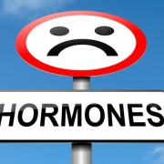 Illustration depicting a sign with a hormone concept.
