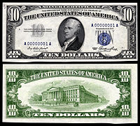 $10 Silver Certificate, Series 1953, Fr.1706, depicting Alexander Hamilton