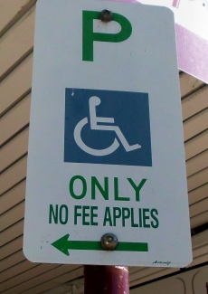 A disability parking sign.