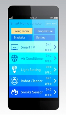 Smart home options on a phone.