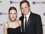 FILE - In this May 4, 2015 file photo, Morgan Macgregor, left, and Michael C. Hall, attend the NYU Tisch School of the Arts 2015 Gala at Jazz at Lincoln Center's Frederick P. Rose Hall, in New York. A spokesman for Hall says the former ¿Dexter¿ star married writer Macgregor on Monday morning, Feb. 29, 2016, at New York City Hall. Publicist Craig Bankey released no other details. Hall and Macgregor first appeared publicly as a couple in 2012. (Photo by Andy Kropa/Invision/AP, File)