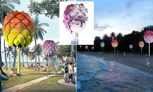 The solar powered pods for beachgoers to sleep in that are made from plastic rubbish