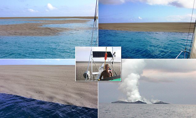 Underwater volcanic eruption creates new landmass around yachtsmen