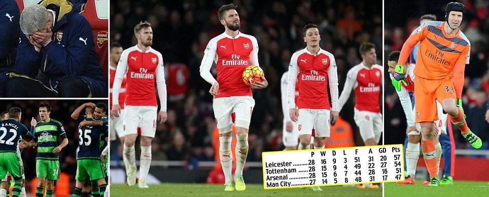 Arsenal 1-2 Swansea: Petr Cech suffers calf injury as Gunners fail to close the gap on