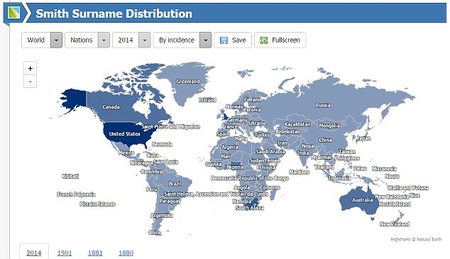 The website creates interactive maps with the data, which allows users to see how many other Smiths, Wangs or Whites there are across the world