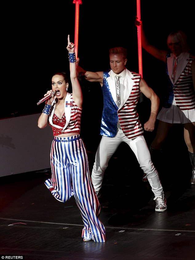 Doing her bit:It was a powerful and emotional performance for Katy, who is a staunch supporter of Hillary - the US Democratic presidential candidate - and she did everything to whip the crowd into a frenzy