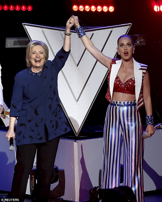 Meaningful:The singer - who performed at the event free of charge - also dedicated her song Unconditional to the political candidate, who won 7 out of 11 states on Tuesday