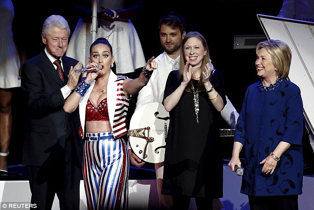 Family affair: Also in attendence were Hillary's husband and former US president Bill Clinton, and their daughter Chelsea