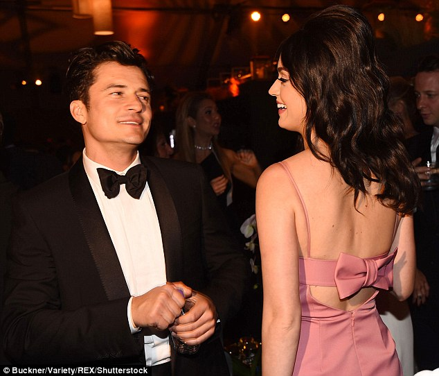 New love: Katy and Orlando were first romantically linked when they were pictured at the Golden Globes after party together in January