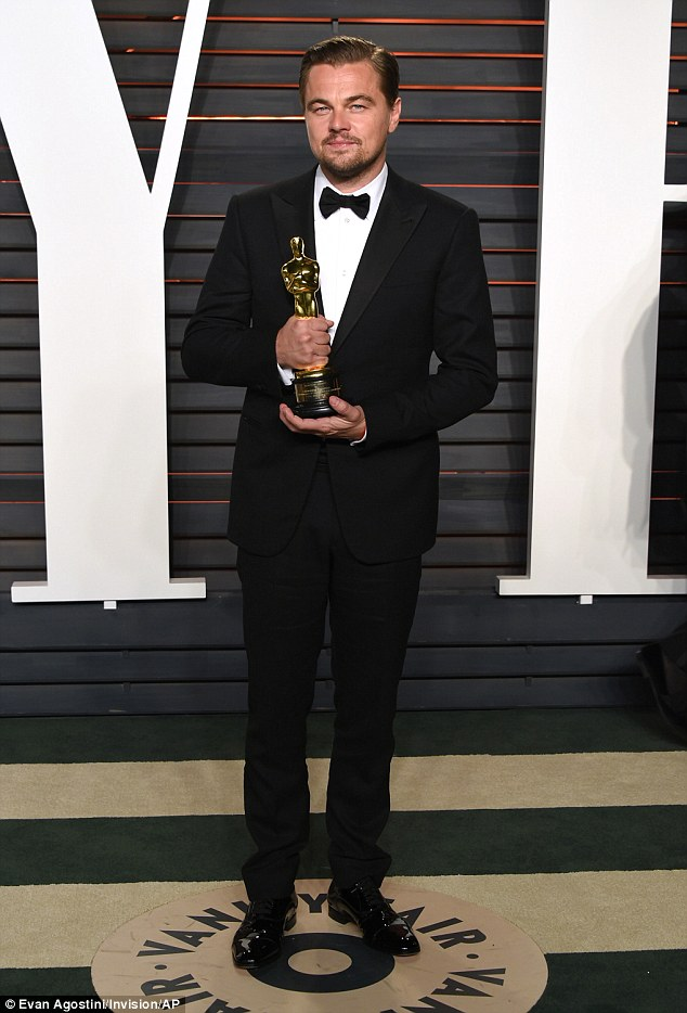 At last! The 41-year-old finally shirked the monkey from his back at the 88th Academy Awards when he was finally recognised for his turn in fellow Oscar winner Alejandro G. Iñárritu's film The Revenant